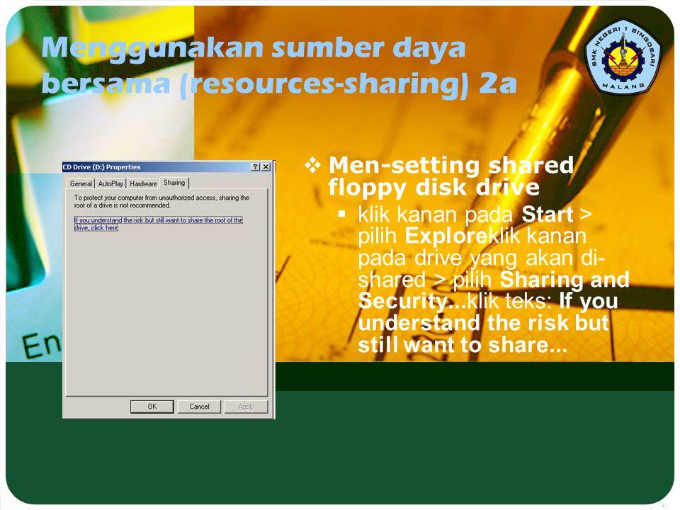 Menggunakan sumber daya bersama (resources-sharing) 2a  Men-setting shared floppy disk drive  klik kanan pada Start > pilih Exploreklik kanan pada d