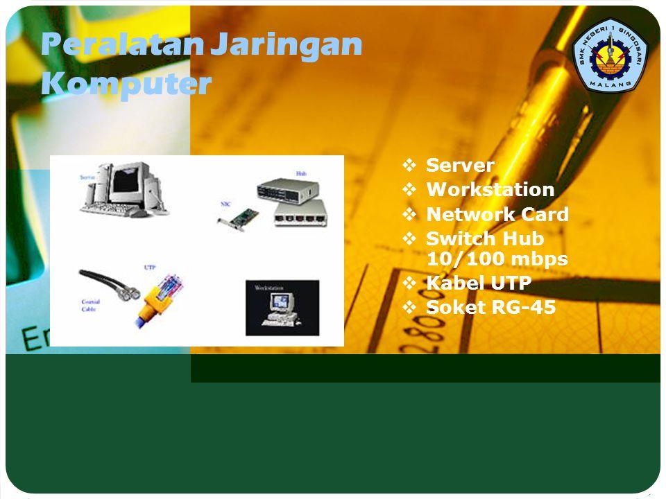 Peralatan Jaringan Komputer  Server  Workstation  Network Card  Switch Hub 10/100 mbps  Kabel UTP  Soket RG-45