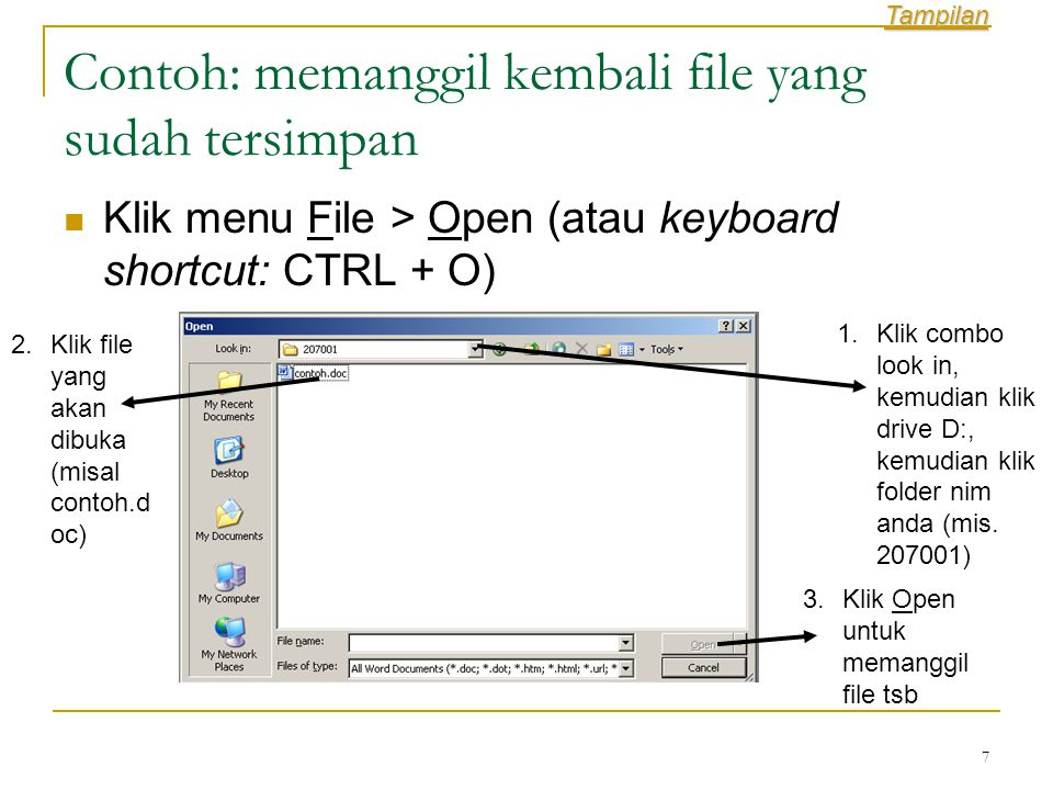 8 Toolbar : Papan Alat  Perintah dalam word selain dengan menggunakan papan menu dan keyboard shortcut juga dapat diakses dengan menggunakan Toolbar  Toolbar memiliki kesamaan dengan keyboard shortcut yakni bermanfaat untuk mempercepat eksekusi perintah  Ada banyak toolbar yang tersedia, yang umum digunakan adalah Standard, Formatting dan Drawing  Untuk menampilkan/menyembunyikan tool bar dapat dilakukan dengan menggunakan menu View > Toolbars kemudian ceklis / hilangkan ceklis toolbar- toolbar yang ingin dimunculkan atau disembunyikan Tampilan