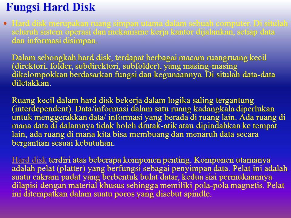 Fungsi Hard Disk  Hard disk merupakan ruang simpan utama dalam sebuah computer.