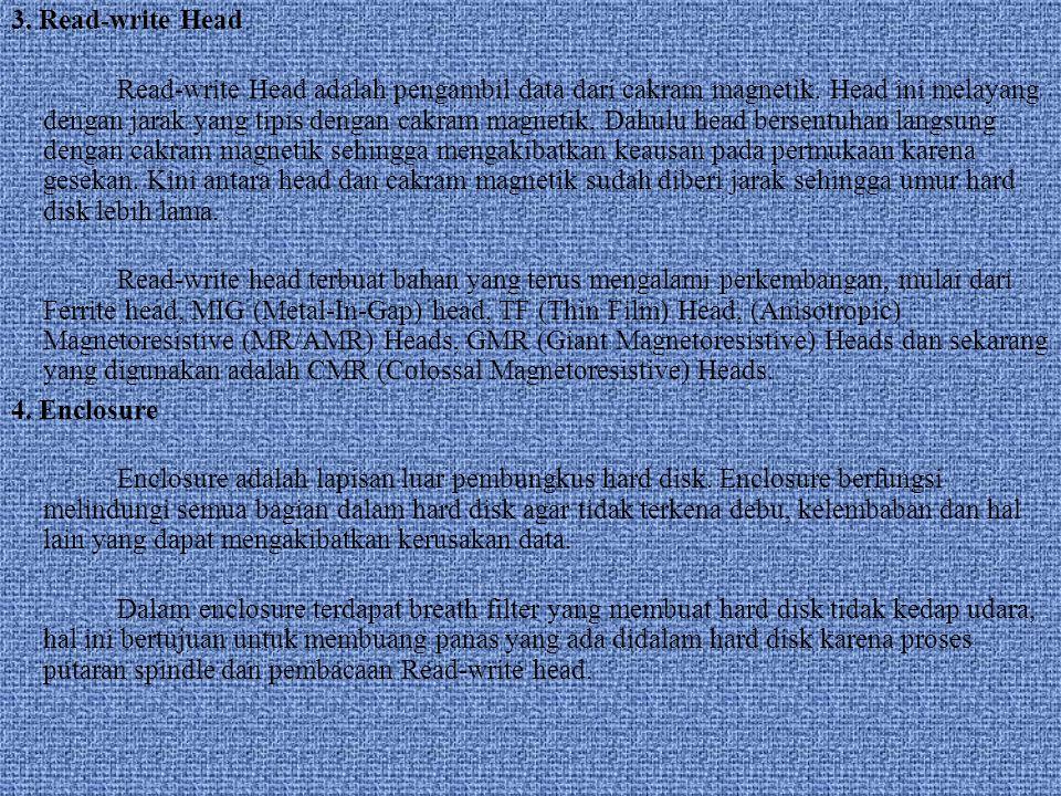 3.Read-write Head Read-write Head adalah pengambil data dari cakram magnetik.