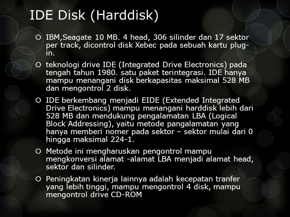 IDE Disk (Harddisk)  IBM,Seagate 10 MB. 4 head, 306 silinder dan 17 sektor per track, dicontrol disk Xebec pada sebuah kartu plug- in.  teknologi dr