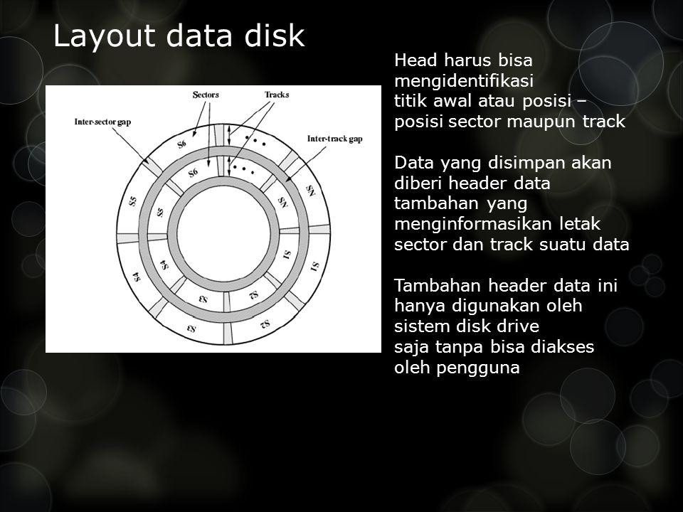 Layout data disk Head harus bisa mengidentifikasi titik awal atau posisi – posisi sector maupun track Data yang disimpan akan diberi header data tambahan yang menginformasikan letak sector dan track suatu data Tambahan header data ini hanya digunakan oleh sistem disk drive saja tanpa bisa diakses oleh pengguna