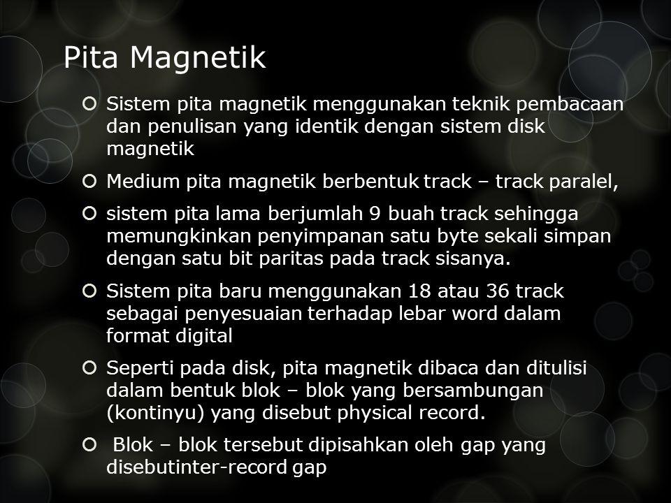 Pita Magnetik  Sistem pita magnetik menggunakan teknik pembacaan dan penulisan yang identik dengan sistem disk magnetik  Medium pita magnetik berbentuk track – track paralel,  sistem pita lama berjumlah 9 buah track sehingga memungkinkan penyimpanan satu byte sekali simpan dengan satu bit paritas pada track sisanya.