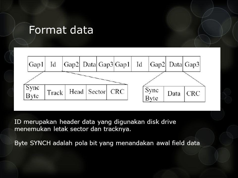 Format data ID merupakan header data yang digunakan disk drive menemukan letak sector dan tracknya. Byte SYNCH adalah pola bit yang menandakan awal fi