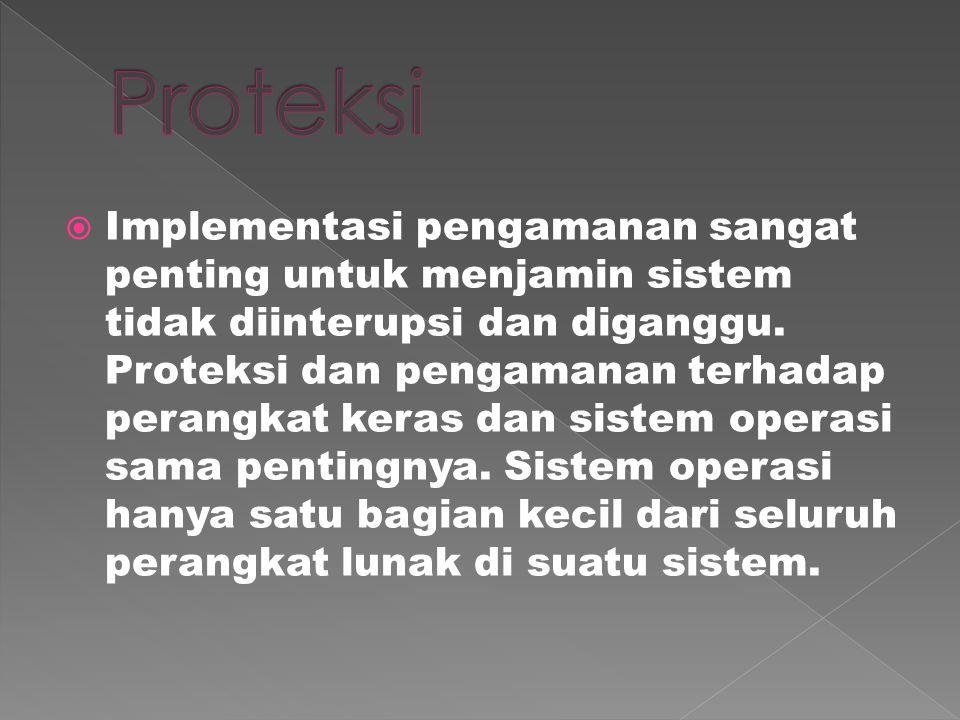  Implementasi pengamanan sangat penting untuk menjamin sistem tidak diinterupsi dan diganggu.