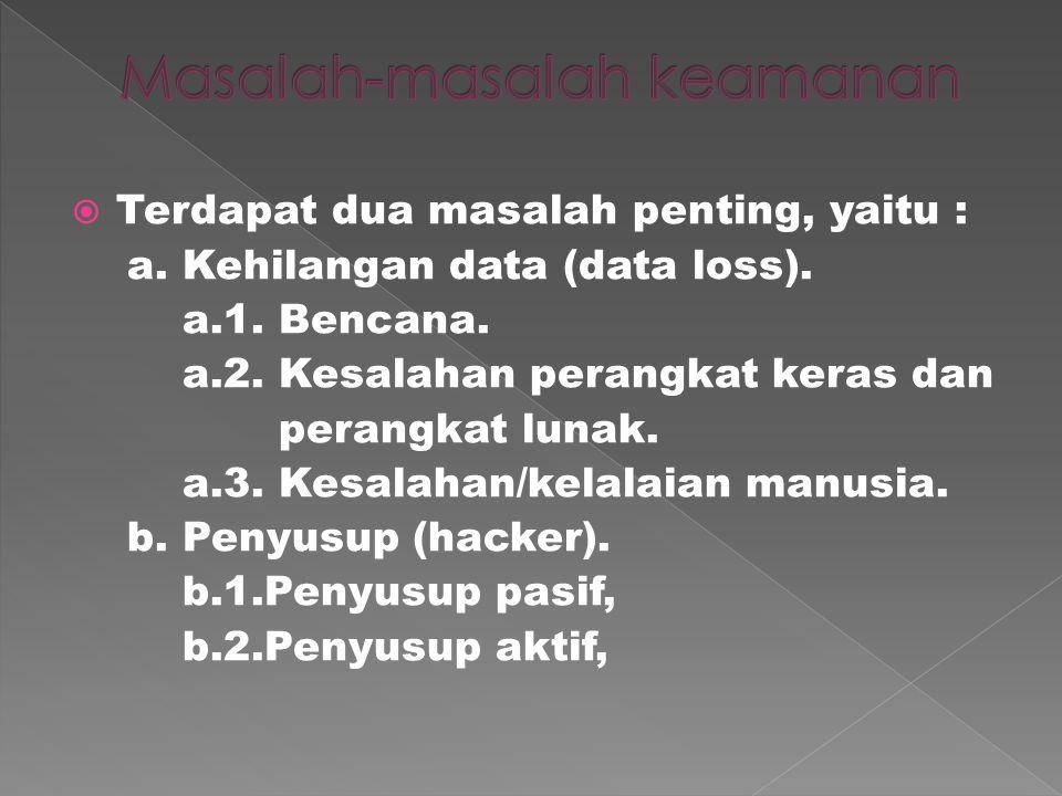 Terdapat dua masalah penting, yaitu : a.Kehilangan data (data loss).