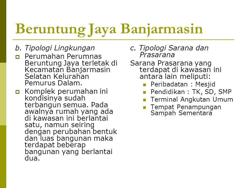 Beruntung Jaya Banjarmasin b. Tipologi Lingkungan  Perumahan Perumnas Beruntung Jaya terletak di Kecamatan Banjarmasin Selatan Kelurahan Pemurus Dala