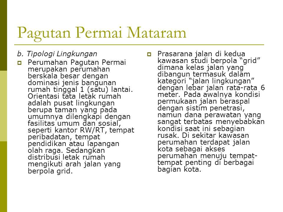 Pagutan Permai Mataram b. Tipologi Lingkungan  Perumahan Pagutan Permai merupakan perumahan berskala besar dengan dominasi jenis bangunan rumah tingg