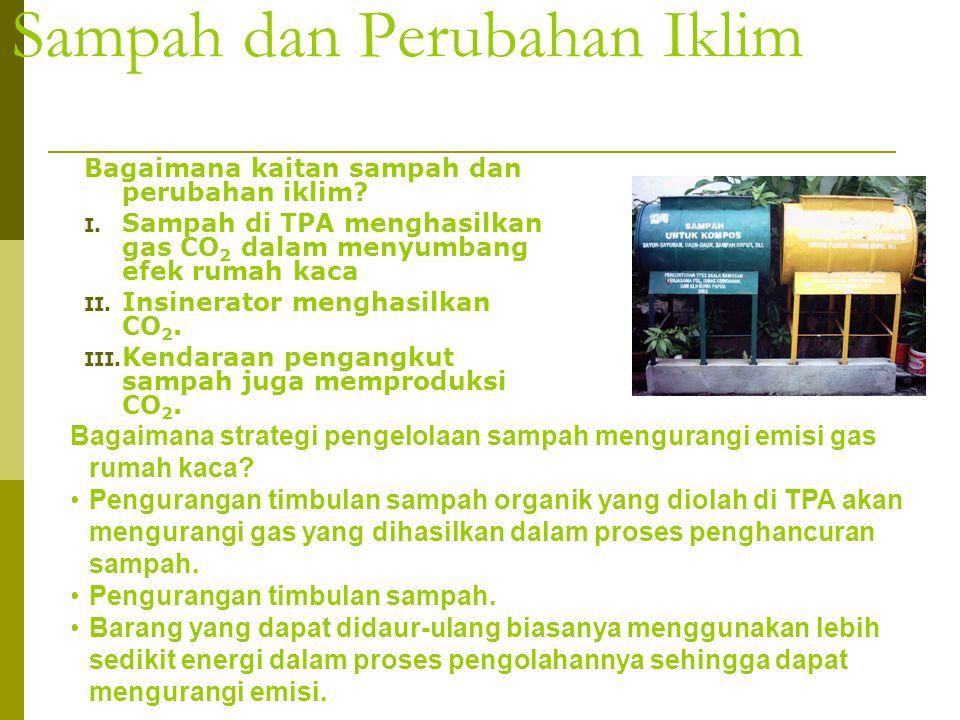 Sampah dan Perubahan Iklim Bagaimana kaitan sampah dan perubahan iklim? I. Sampah di TPA menghasilkan gas CO 2 dalam menyumbang efek rumah kaca II. In