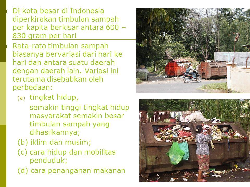  Di kota besar di Indonesia diperkirakan timbulan sampah per kapita berkisar antara 600 – 830 gram per hari  Rata-rata timbulan sampah biasanya berv