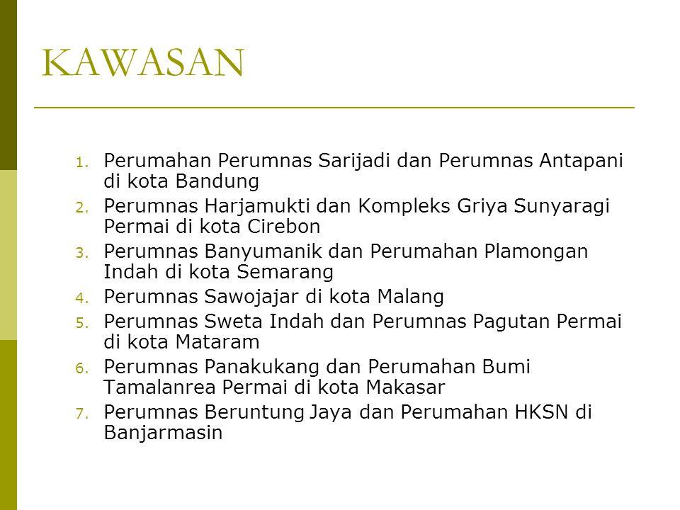 KAWASAN 1. Perumahan Perumnas Sarijadi dan Perumnas Antapani di kota Bandung 2. Perumnas Harjamukti dan Kompleks Griya Sunyaragi Permai di kota Cirebo