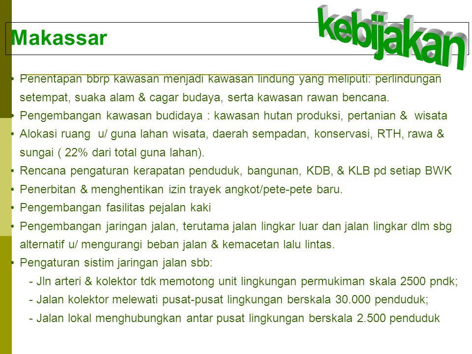 Makassar •Penentapan bbrp kawasan menjadi kawasan lindung yang meliputi: perlindungan setempat, suaka alam & cagar budaya, serta kawasan rawan bencana