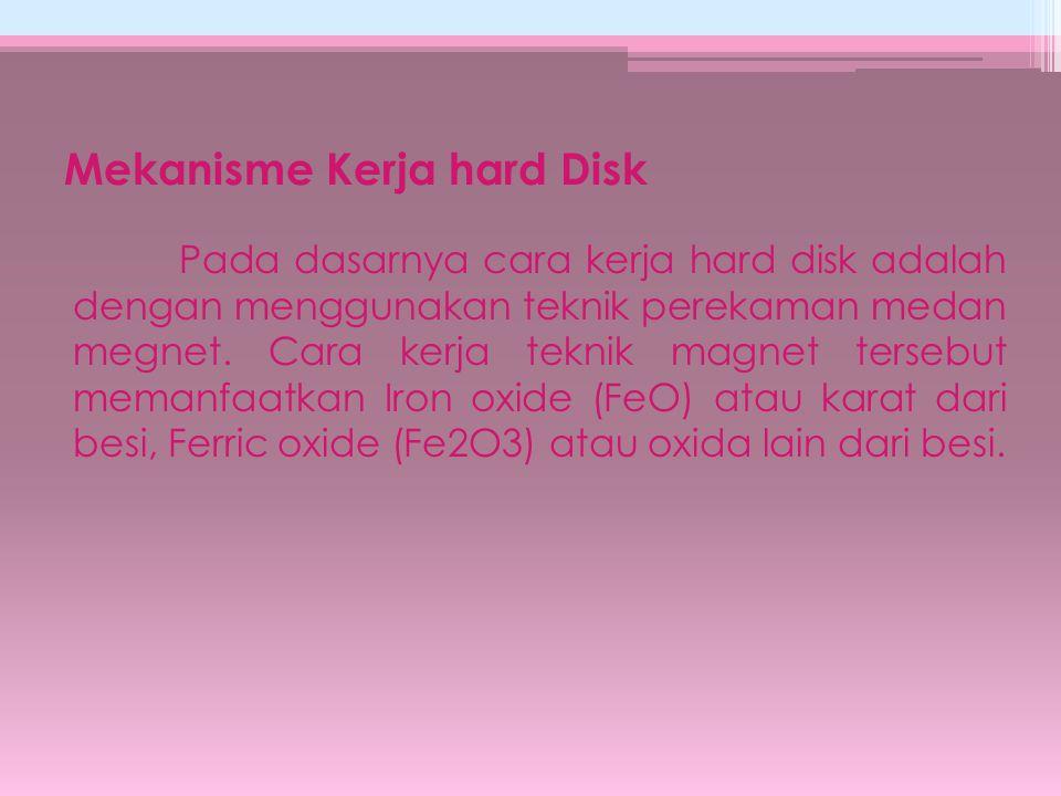 Mekanisme Kerja hard Disk Pada dasarnya cara kerja hard disk adalah dengan menggunakan teknik perekaman medan megnet. Cara kerja teknik magnet tersebu