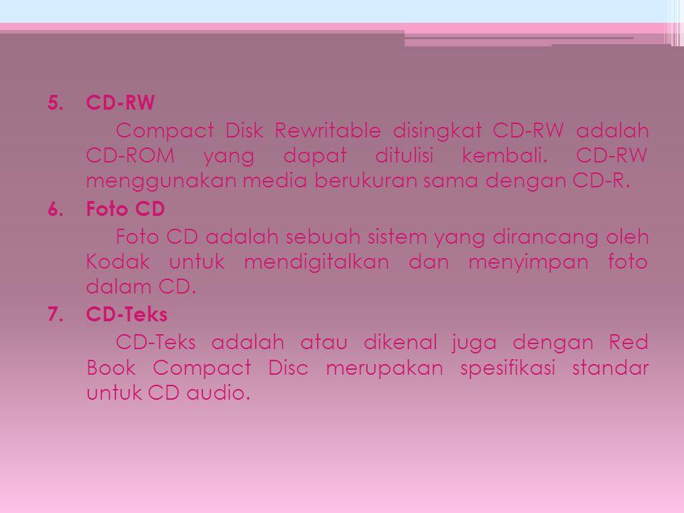 5.CD-RW Compact Disk Rewritable disingkat CD-RW adalah CD-ROM yang dapat ditulisi kembali. CD-RW menggunakan media berukuran sama dengan CD-R. 6.Foto