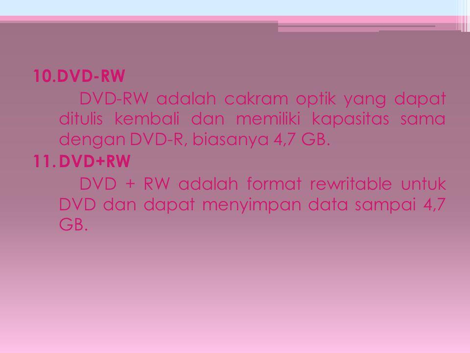10.DVD-RW DVD-RW adalah cakram optik yang dapat ditulis kembali dan memiliki kapasitas sama dengan DVD-R, biasanya 4,7 GB. 11.DVD+RW DVD + RW adalah f