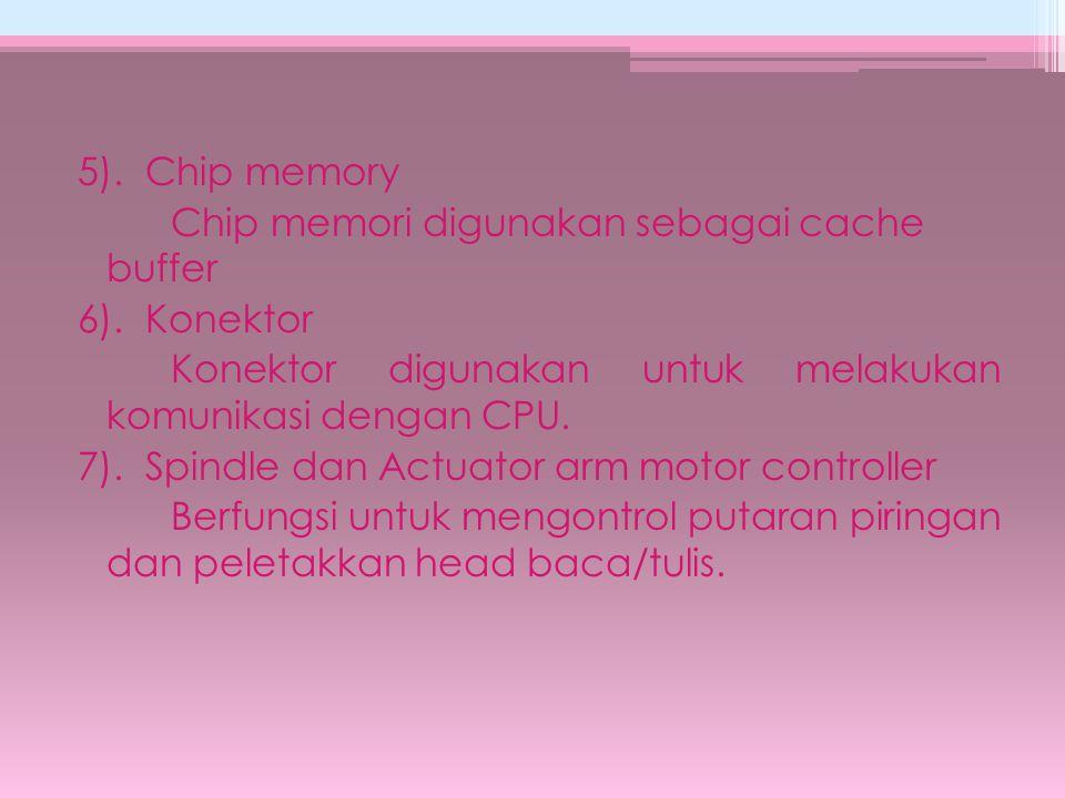 5). Chip memory Chip memori digunakan sebagai cache buffer 6). Konektor Konektor digunakan untuk melakukan komunikasi dengan CPU. 7). Spindle dan Actu