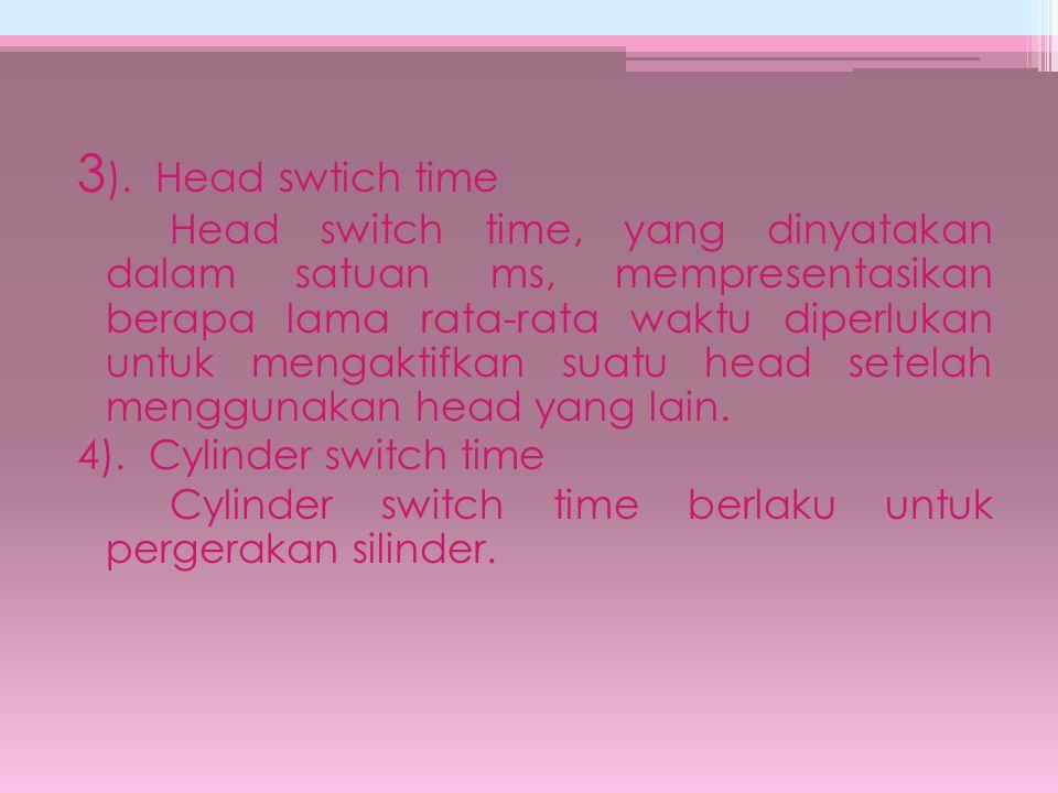 3 ). Head swtich time Head switch time, yang dinyatakan dalam satuan ms, mempresentasikan berapa lama rata-rata waktu diperlukan untuk mengaktifkan su