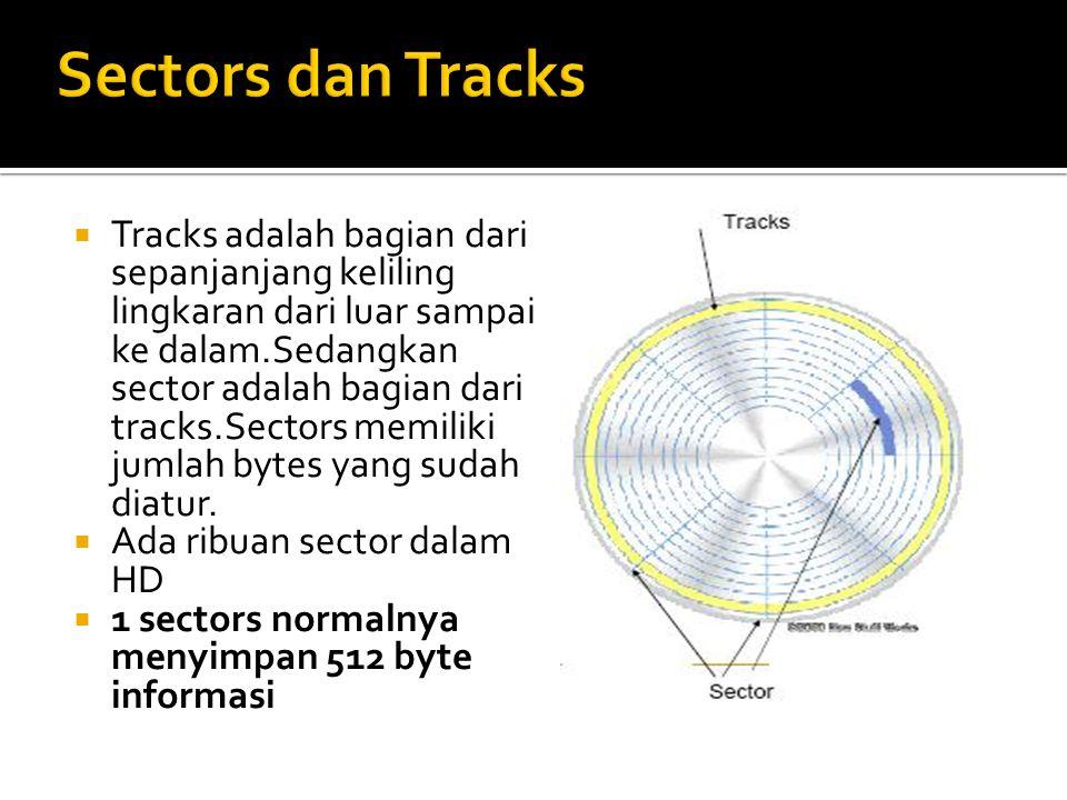  Tracks adalah bagian dari sepanjanjang keliling lingkaran dari luar sampai ke dalam.Sedangkan sector adalah bagian dari tracks.Sectors memiliki jumlah bytes yang sudah diatur.
