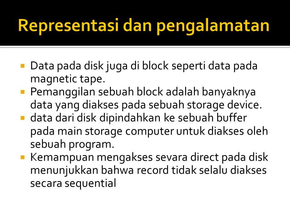  Data pada disk juga di block seperti data pada magnetic tape.