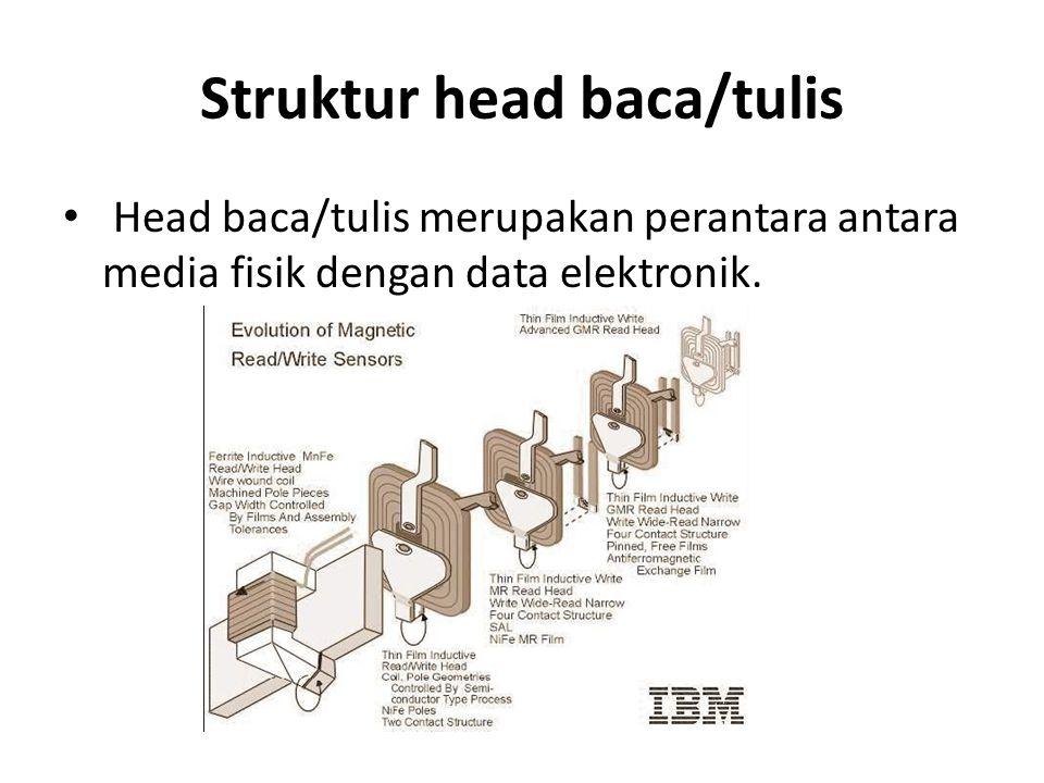 Struktur head baca/tulis • Head baca/tulis merupakan perantara antara media fisik dengan data elektronik.