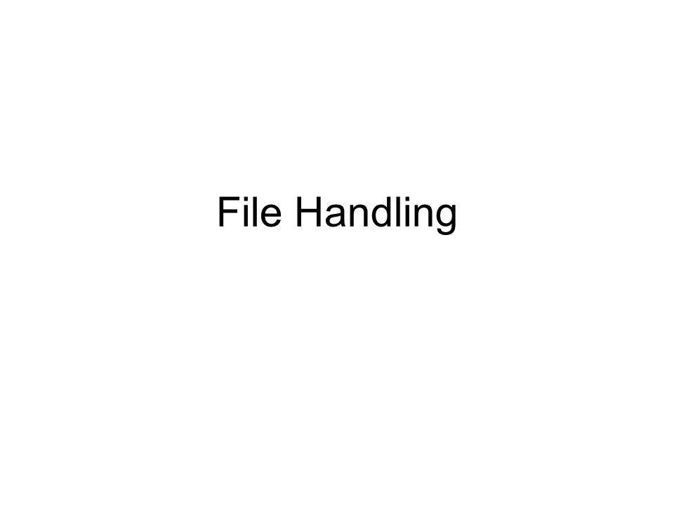 File Handling