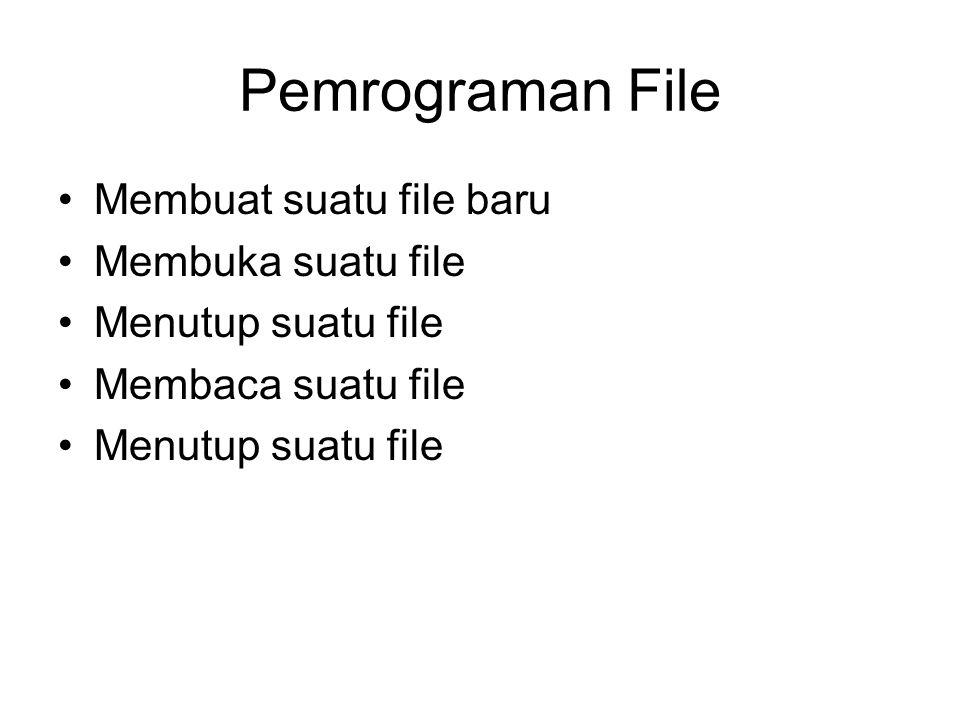 Lingkup file •Secara umum pada C, semua piranti komputer bisa dianggap sebagai 'file' •Lingkup file yang akan dibahas pada materi ini: –Kumpulan data yang disimpan pada media penyimpan (disk)