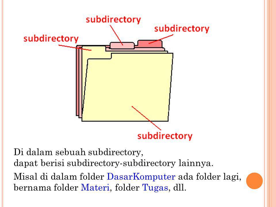 Directory (Direktori) MS DOS menyimpan file-file pada disk dengan mengatur direktori, atau daftar dari file-file.