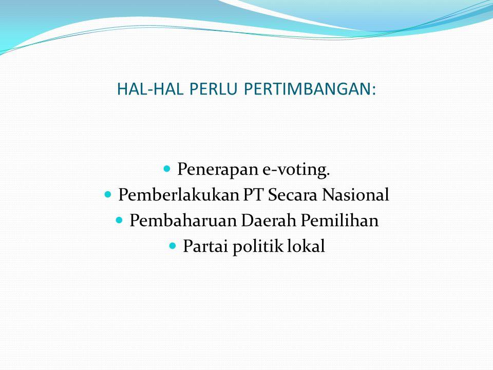 HAL-HAL PERLU PERTIMBANGAN:  Penerapan e-voting.
