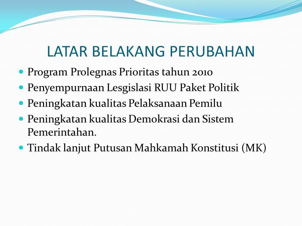 LATAR BELAKANG PERUBAHAN  Program Prolegnas Prioritas tahun 2010  Penyempurnaan Lesgislasi RUU Paket Politik  Peningkatan kualitas Pelaksanaan Pemilu  Peningkatan kualitas Demokrasi dan Sistem Pemerintahan.