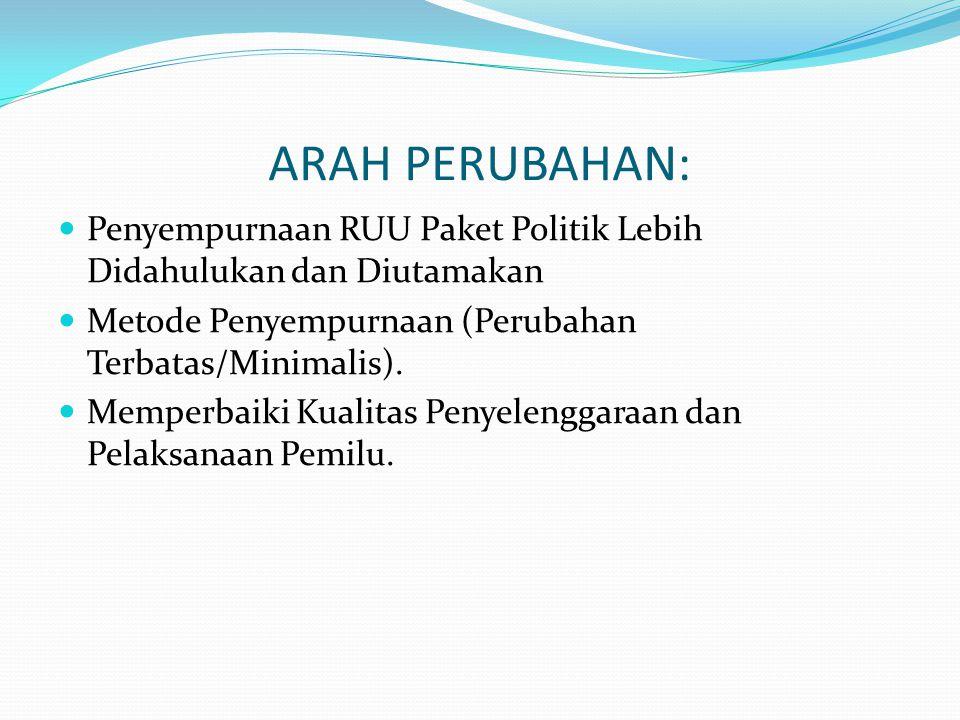 ARAH PERUBAHAN:  Penyempurnaan RUU Paket Politik Lebih Didahulukan dan Diutamakan  Metode Penyempurnaan (Perubahan Terbatas/Minimalis).
