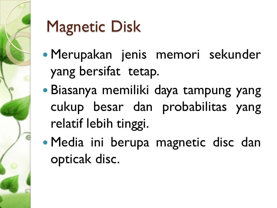 Cont'd Magnetic Disk  Floppy Disk sebuah media yang digunakan dalam komputer sebagai media storage atau tempat penyimpanan data  Hardisk/HDD/HD adalah sebuah komponen hardware yang menyimpan dat sekunder dan berisi piringan magnetis.