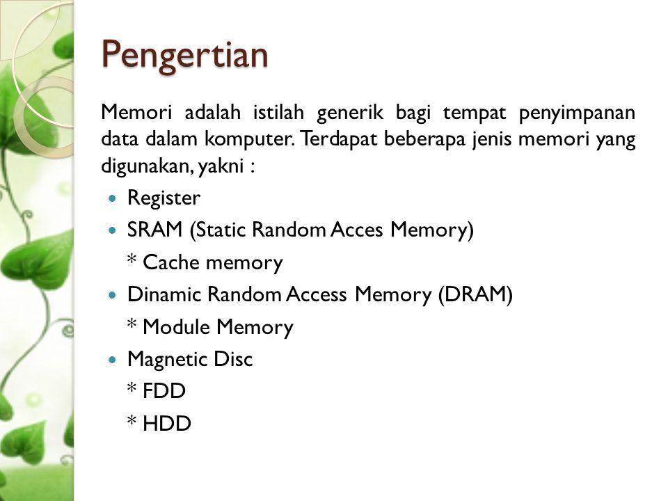 Pengertian Memori adalah istilah generik bagi tempat penyimpanan data dalam komputer. Terdapat beberapa jenis memori yang digunakan, yakni :  Registe