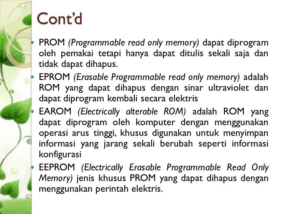 Cont'd  PROM (Programmable read only memory) dapat diprogram oleh pemakai tetapi hanya dapat ditulis sekali saja dan tidak dapat dihapus.  EPROM (Er