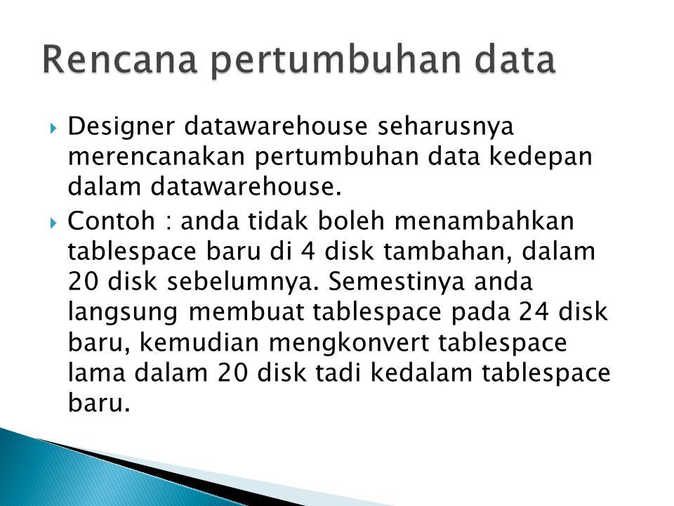  Designer datawarehouse seharusnya merencanakan pertumbuhan data kedepan dalam datawarehouse.  Contoh : anda tidak boleh menambahkan tablespace baru