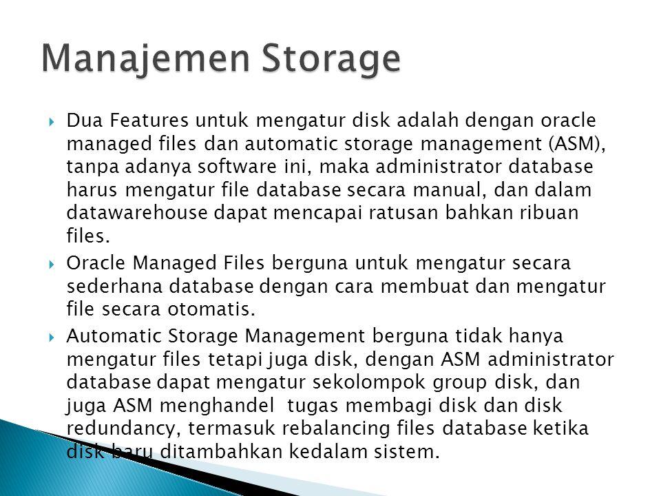  Dua Features untuk mengatur disk adalah dengan oracle managed files dan automatic storage management (ASM), tanpa adanya software ini, maka administ