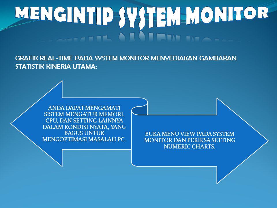 GRAFIK REAL-TIME PADA SYSTEM MONITOR MENYEDIAKAN GAMBARAN STATISTIK KINERJA UTAMA: ANDA DAPAT MENGAMATI SISTEM MENGATUR MEMORI, CPU, DAN SETTING LAINN