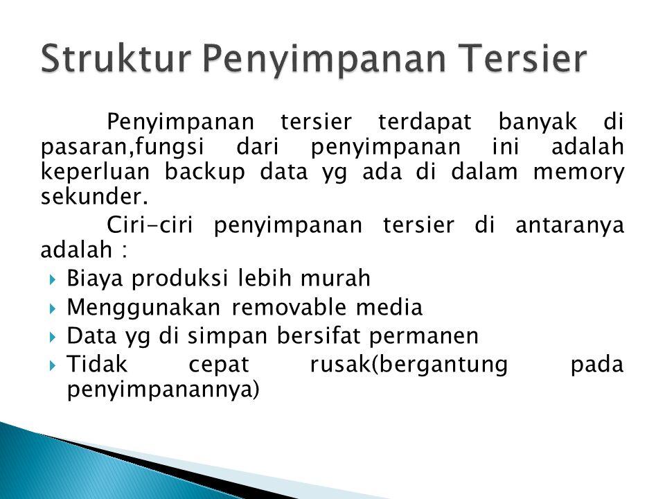 Penyimpanan tersier terdapat banyak di pasaran,fungsi dari penyimpanan ini adalah keperluan backup data yg ada di dalam memory sekunder.