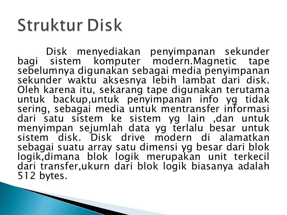 Disk menyediakan penyimpanan sekunder bagi sistem komputer modern.Magnetic tape sebelumnya digunakan sebagai media penyimpanan sekunder waktu aksesnya lebih lambat dari disk.