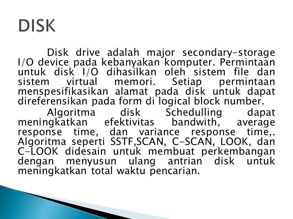 Disk drive adalah major secondary-storage I/O device pada kebanyakan komputer.
