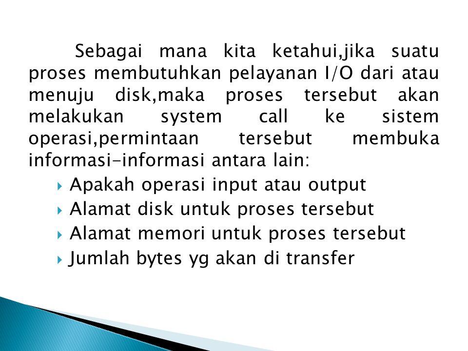 Sebagai mana kita ketahui,jika suatu proses membutuhkan pelayanan I/O dari atau menuju disk,maka proses tersebut akan melakukan system call ke sistem operasi,permintaan tersebut membuka informasi-informasi antara lain:  Apakah operasi input atau output  Alamat disk untuk proses tersebut  Alamat memori untuk proses tersebut  Jumlah bytes yg akan di transfer