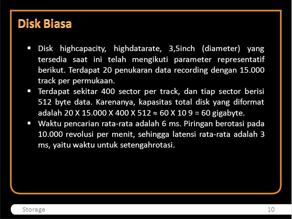  Disk highcapacity, highdatarate, 3,5inch (diameter) yang tersedia saat ini telah mengikuti parameter representatif berikut. Terdapat 20 penukaran da