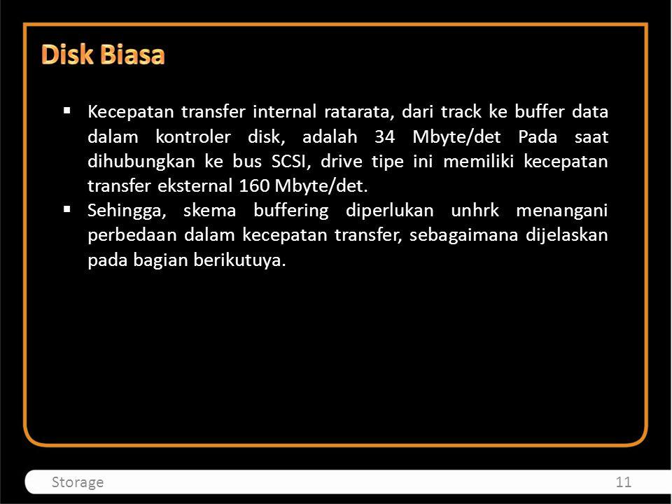  Kecepatan transfer internal ratarata, dari track ke buffer data dalam kontroler disk, adalah 34 Mbyte/det Pada saat dihubungkan ke bus SCSI, drive t