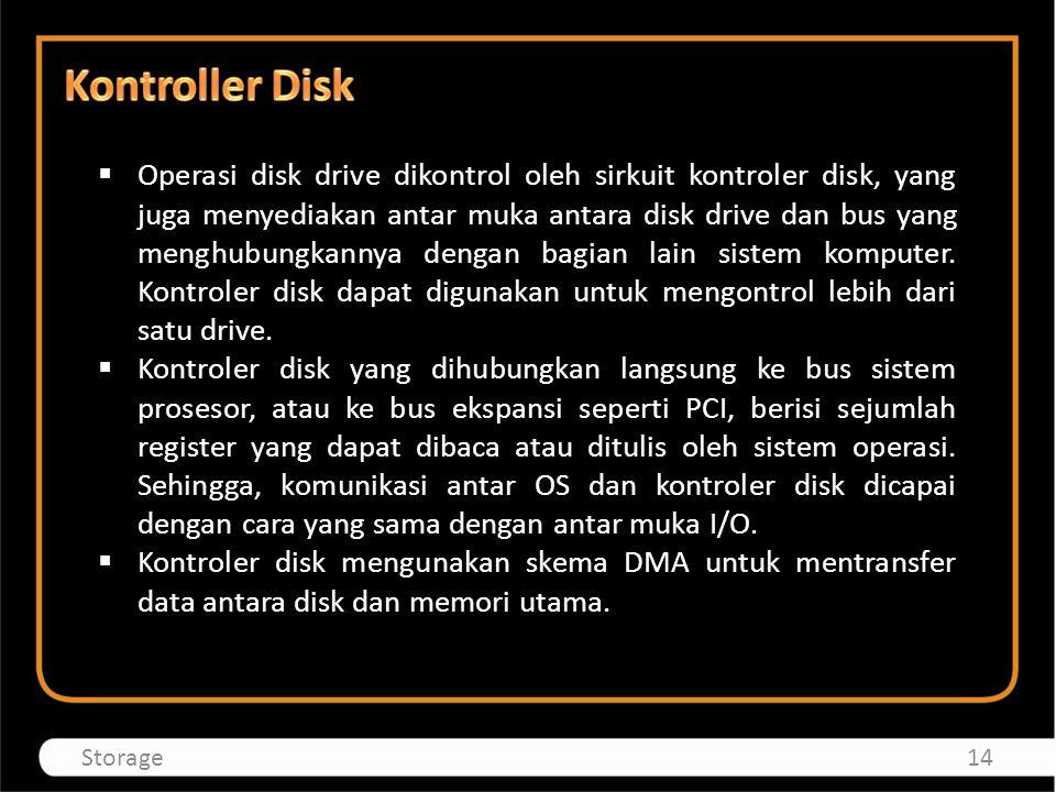  Operasi disk drive dikontrol oleh sirkuit kontroler disk, yang juga menyediakan antar muka antara disk drive dan bus yang menghubungkannya dengan ba