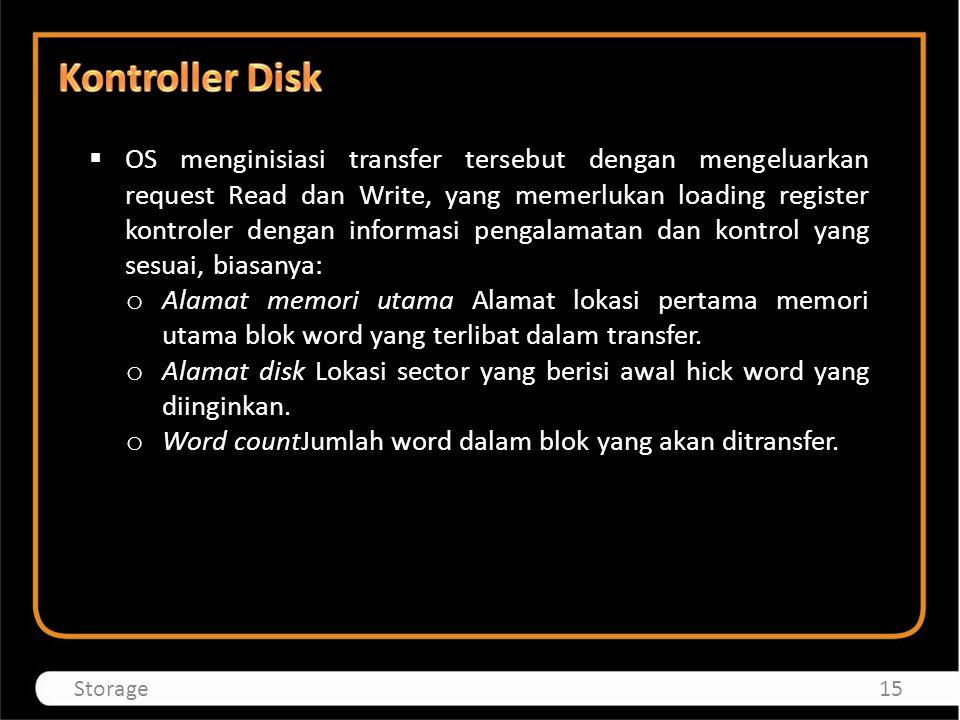  OS menginisiasi transfer tersebut dengan mengeluarkan request Read dan Write, yang memerlukan loading register kontroler dengan informasi pengalamat