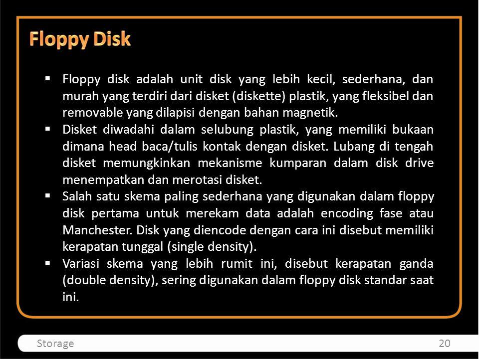  Floppy disk adalah unit disk yang lebih kecil, sederhana, dan murah yang terdiri dari disket (diskette) plastik, yang fleksibel dan removable yang d