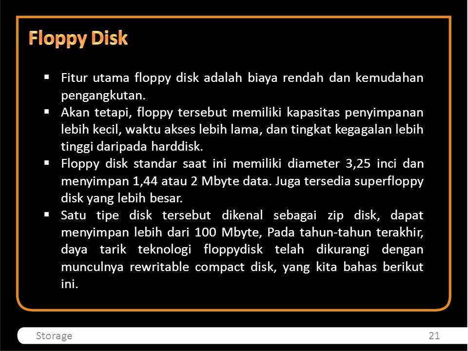  Fitur utama floppy disk adalah biaya rendah dan kemudahan pengangkutan.  Akan tetapi, floppy tersebut memiliki kapasitas penyimpanan lebih kecil, w