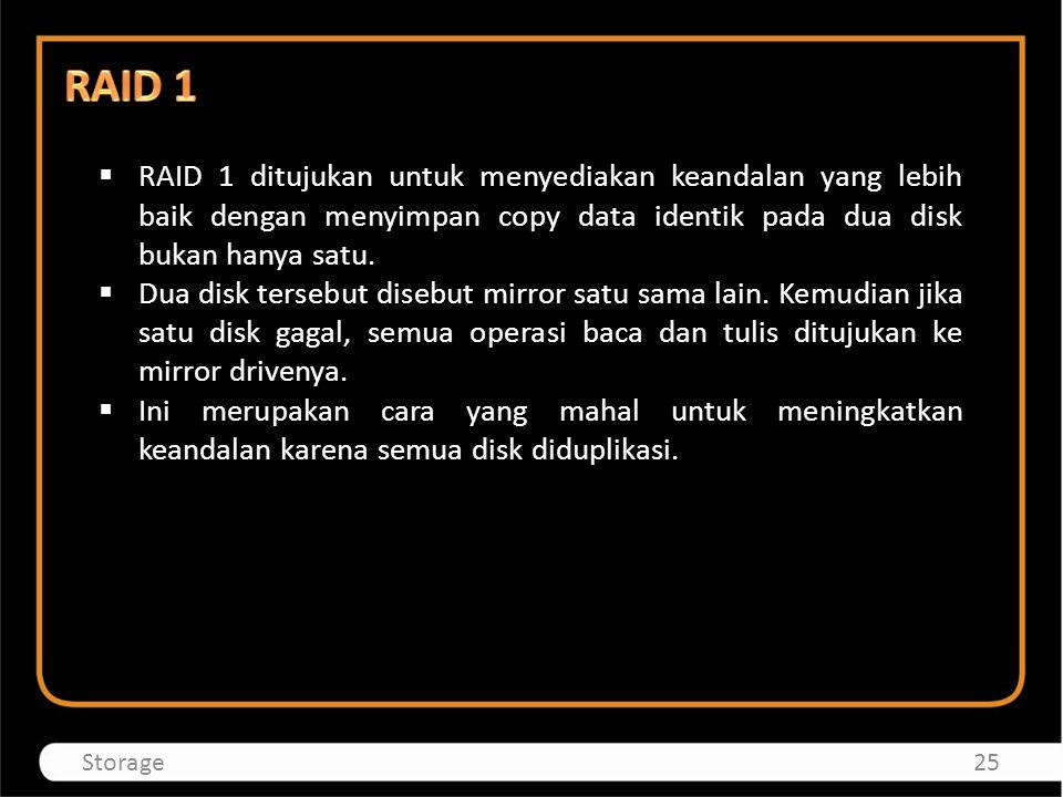  RAID 1 ditujukan untuk menyediakan keandalan yang lebih baik dengan menyimpan copy data identik pada dua disk bukan hanya satu.  Dua disk tersebut