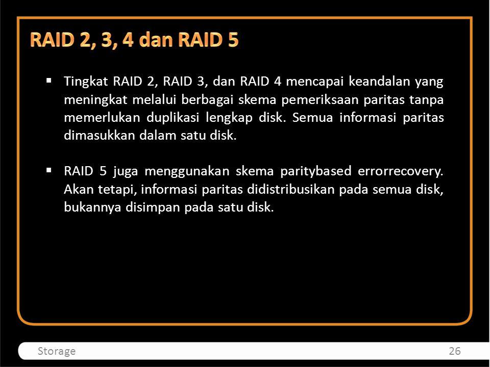  Tingkat RAID 2, RAID 3, dan RAID 4 mencapai keandalan yang meningkat melalui berbagai skema pemeriksaan paritas tanpa memerlukan duplikasi lengkap d
