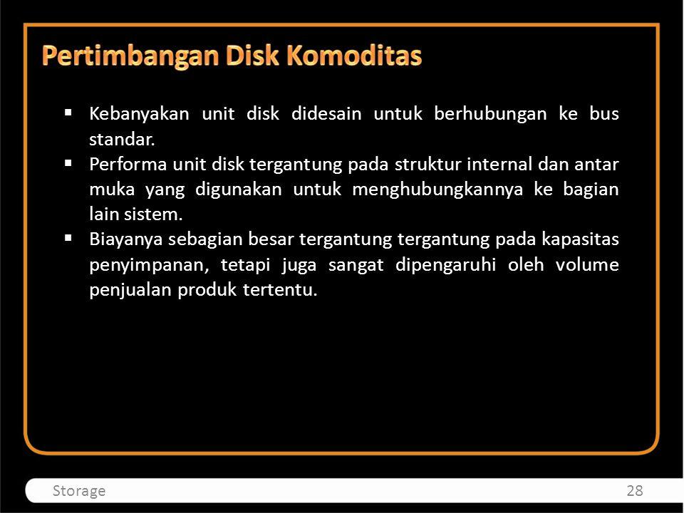  Kebanyakan unit disk didesain untuk berhubungan ke bus standar.  Performa unit disk tergantung pada struktur internal dan antar muka yang digunakan